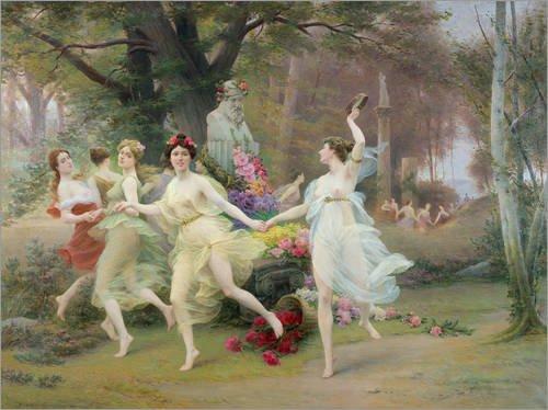 Holzbild 80 x 60 cm: Dancing in a Circle von Jules Scalbert / Bridgeman (Kostüme Römischen Weibliche)