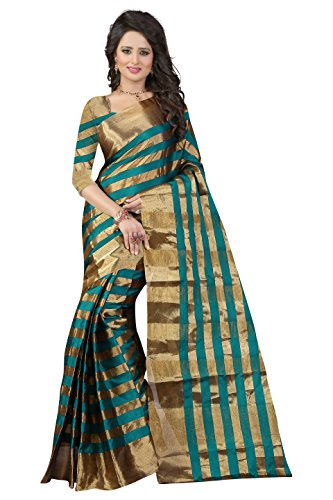 Glory Sarees Poly Cotton Saree (Jari111_Green)