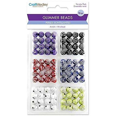 Glimmer Acrylic Disco Ball Bead Variety Pack 96/Pkg-Glitter Swirl