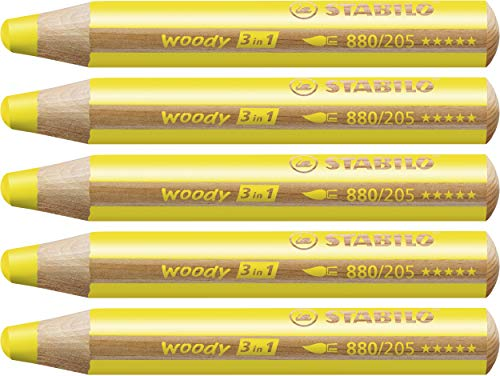 STABILO woody 3 in 1 matitone colorato colore Giallo Neutro - Confezione da 5