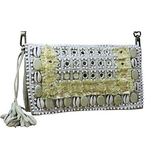 FERETI Borsa a tracolla conchiglie beige in pelle ricamo specchio paillettes perline prances - Coccinella Specchio