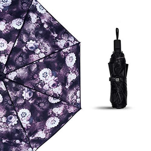 MDD Outdoor-Reise-Regenschirm Mode Blumenmuster Doppelschicht-Vinyl-Sonnenschutz Creative Sun Uv Folding Sunny, Dual-Use-Sonnenschirm,C