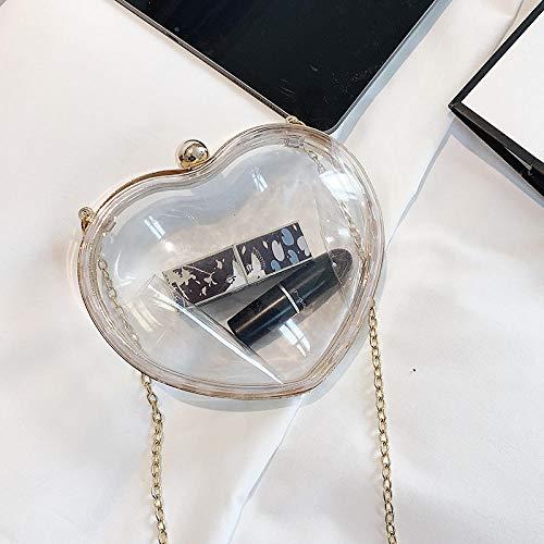 Fyyzg einzelne Schulter Umhängetasche Damentasche herzförmigen PVC transparent Mode Kette Schulter