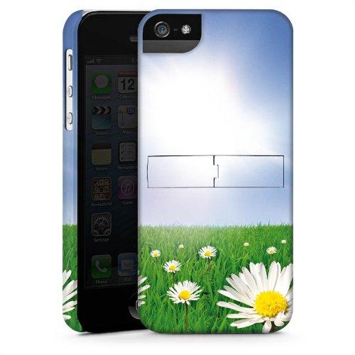 Apple iPhone 4 Housse Étui Silicone Coque Protection Pâquerette Prairie de fleurs Soleil CasStandup blanc
