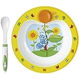 Emsa ANTON ANT Assiette chauffante pour bébé avec cuillère, décors ludique et coloré, 23 cm