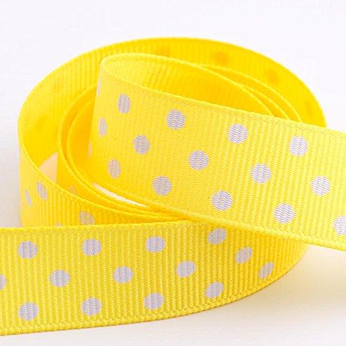 Polka Dot Grosgrain Ribbon 15mm x 10 Metres - Yellow