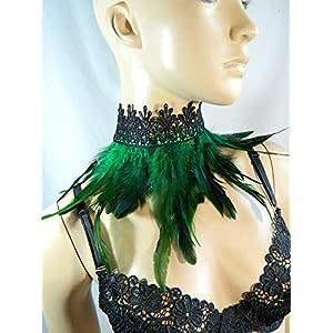 Feder Halsband Kragen grün Choker Kropfband Kette Vogel Kostüm Pfau Karneval