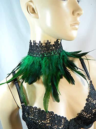 Feder Halsband Kragen grün Choker Kropfband Kette Vogel Kostüm Pfau Karneval (Gothic Bauchtanz Kostüm)