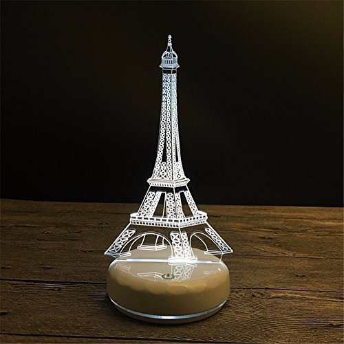 WHLQXD Une Tour Eiffel Fashion Night Light 3D En Porcelaine Blanche Base Tour Eiffel Créatif Feu Don Coloré Lampe À Led Toucher Le Coloré Veilleuses