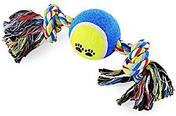 Foodie Puppies Training Cotton Rope Toy with Tennis Ball - Color May Vary