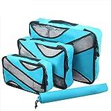 Ting-Times 3 Set Sistema di cubi di imballaggio per Gli organizzatori di Bagagli da Viaggio con Borsa per Il bucato (Stile 2, Cielo blu0