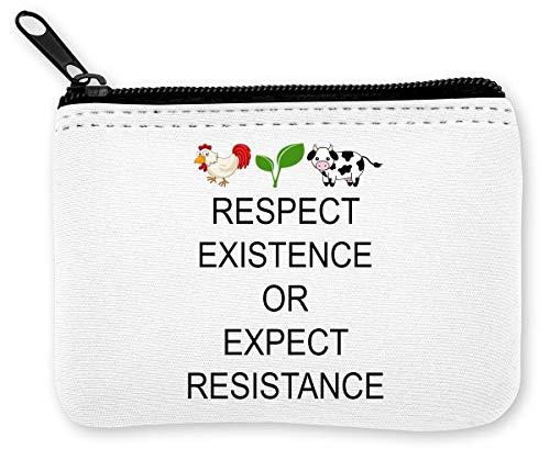 Respect Existence Or Expect Resistance Vegan Monedero de la Cremallera de la Moneda