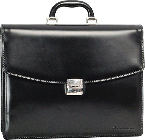 Damen Laptop-brief (HANDMACHER Aktentasche aus Voll-Leder für Damen und Herren in schwarz: Echtleder (Hochglanz) Arbeitstasche mit Schloss - Akten-Koffer Dokumententasche)