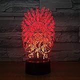 Indiens Chef Crâne 3D Night Light Touch Switch 7 Changement De Couleur Led Lampe De Table 5V Usb Nuit Lumière Home Bar Art Décoration