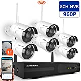 [Better Than 720P]Smonet 8CH HD Wireless Security Camera System (cctv kit) with 6pcs 960P Wireless CCTV Camera System,65ft Night Vision,Plug&Play,1TB HDD Pre-installed