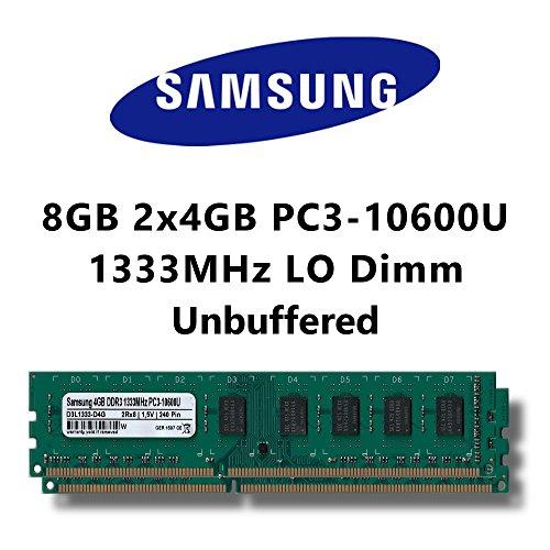 Samsung 8GB (2x 4GB) Dual-Channel Kit DDR3 1333MHz (PC3 10600U) LO Dimm Computer PC Desktop RAM Memory Computer Dual Channel