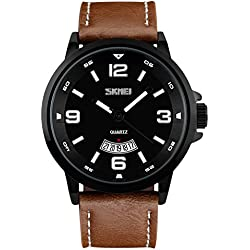 Bozlun Men's Quartz Watch with Large Dial Brown Leather Band 30M Waterproof Auto Date Fashion Casual Dress Wrist Watch for Men