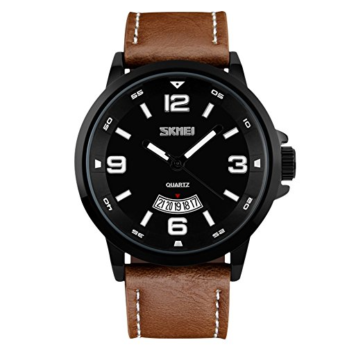 bozlun-Reloj de cuarzo para hombre con grandes Cara Piel Banda Correa de vestido de 30m resistente al agua Auto FECHA muñeca relojes para los hombres de negocios-color marrón