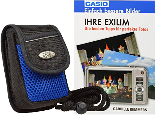 Progallio Foto-Tasche ADVENTURE MAYLIS schwarz-blau plus Fotobuch Casio Exilim