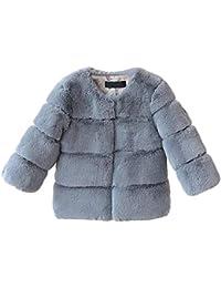 Ablerfly - Abrigo de invierno para niños con piel de zorro artificial, cálido, elegante y a juego