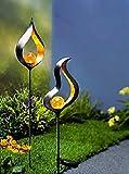 Unbekannt Solar Gartenstecker 2er Set aus Metall Schwarz Garten Deko Stecker mit Licht Neu