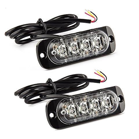 2PCS (4 LED Beads) Amber Ultra Slim Emergency Hazard Strobe Warning Light Bar for 12V - 24V Car Vehicle, Safety Flashing Beacon for SUV Trailer Caravan [Black] by Discoball®