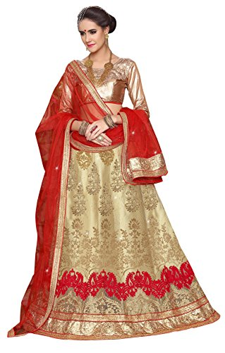 Women'S Beige Color Embroidered Lehenga