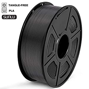 SUNLU PLA Filament 1.75mm 3D Printer Filament PLA Tangle-Free 1kg Spool (2.2lbs), Dimensional Accuracy of +/- 0.02mm PLA Black