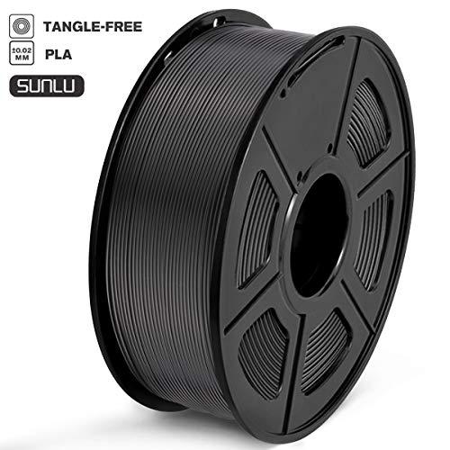 SUNLU Filament 1.75mm PLA 3D Drucker Filament PLA Tangle-Free 1kg Spool (2.2lbs), Toleranz beim Durchmesser liegt bei +/- 0,02mm PLA Schwarz