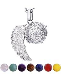 Morella Damen Halskette 70 cm Edelstahl mit Anhänger und 7 Edelsteinen Chakren-Kugeln in Schmuckbeutel