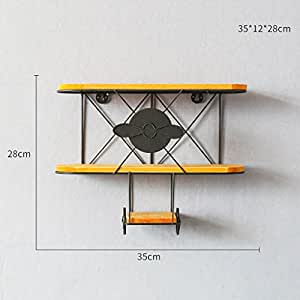 Regal Wall Rack Shelf LOFT Mount Cube For Bedroom Bookshelf Simple Iron Airplane Style