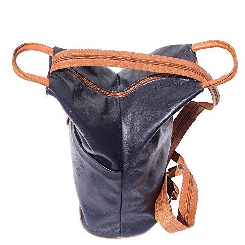 Rucksack Handtasche und Schultertasche 2061 Marine blau-bräune