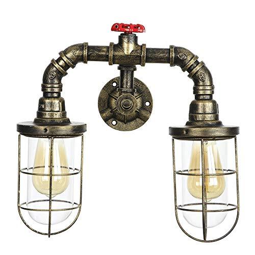 Retro Wasserleitung Wandleuchte, Eisenrohr Lampe Loft Metall 2 Scheinwerferhalter Für Familiencafé Restaurant Showroom Bar Club Arbeitszimmer Ohne Glühbirne,Bronze - Bronze 2-glühbirne