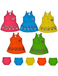Sathiyas Baby Girls A-Line Cotton Dresses (Multicolor) (Pack of 5 Sets) (0-6 months, TK153))