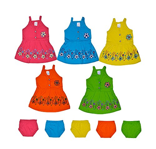Sathiyas Baby Girls A-Line Cotton Dresses (Multicolor) (Pack of 5 Sets) (0-6 months, TK153)