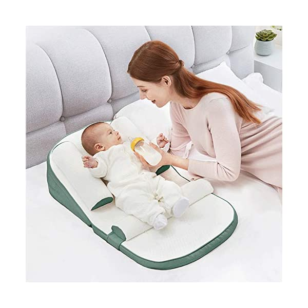 TINGYIN Baby Lounger Infant Sleeper, Newborn Lounger, Nap Sleeper Seat Baby Bassinet,Safer Comfortable Co-Sleeping with Removable Breathable Cover,for Bed Travel Bed TINGYIN ★Adjustable Design: Suitable for 0-15Month. Comes with bag, Great baby shower gift. GROWS WITH YOUR BABY. Being adjustable, the side sleeper grows with your baby. Simply loosen the cord at the end of the bumpers to make the size larger. The ends of the bumpers can be fully opened. ★HEALTH & COMFY: hypoallergenic materials, breathable and non-toxic. We use 100-percent cotton fabric and breathable, hypoallergenic internal filler, which is safe for baby's sensitive skin. It will give your child serene, safe, and sound sleep in their lovely co sleeping crib. ★MULTIFUNCTIONAL AND PORTABLE. Use the infant nest as a bassinet for a bed, baby lounger pillow, travel bed, newborn pillow, changing station or move it around the house for lounging or tummy time, making baby feel more secure and cozy. The lightweight design and easy-to-use package with handle make our newborn nest a portable baby must-have. 5