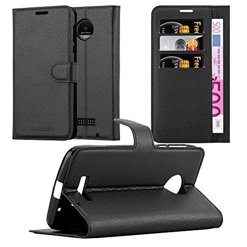 Cadorabo Hülle für Motorola Moto Z Force - Hülle in Phantom SCHWARZ - Handyhülle mit Kartenfach & Standfunktion - Case Cover Schutzhülle Etui Tasche Book Klapp Style