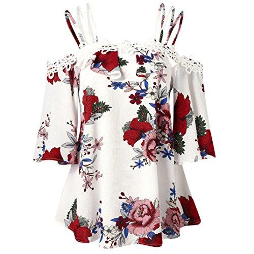 iYmitz DamenBlumendrucken Kalte Schulter Halbarm Shirt Tops Bluse(Weiß,4XL)