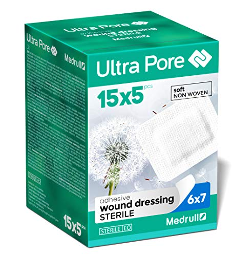 Medrull 75 Stück SOFT Wundverband Steril 7x6 cm Ultra Pore (15pcs x 5 Stk.)