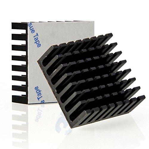 Neuftech groß Alu Kühlkörper Heatsink Cooler 25x25x10mm mit Selbstklebend - schwarz