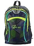Wheel-Bee Rucksack, Design: Blue-Green, mit integriertem LED Licht (grün) und Reflektorstreifen, Schulrucksack, Daypack, Backpack, Sichtbarkeit bei Dunkelheit, 30 Liter, 950003