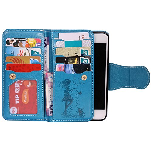 JAWSEU iPhone 7 Custodia in Pelle Portafoglio, Cover iPhone 7, Lusso 3D Modello Goffratura Arts Lusso PU Leather Folio Case per iPhone 7 Custodia Cover con Gel Silicone Interno Case e Porta carte di C Donna e gatto, Blu
