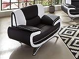 SAM Sessel Passero, Schwarz/Weiß, Couch aus Kunstleder, Modernes Design