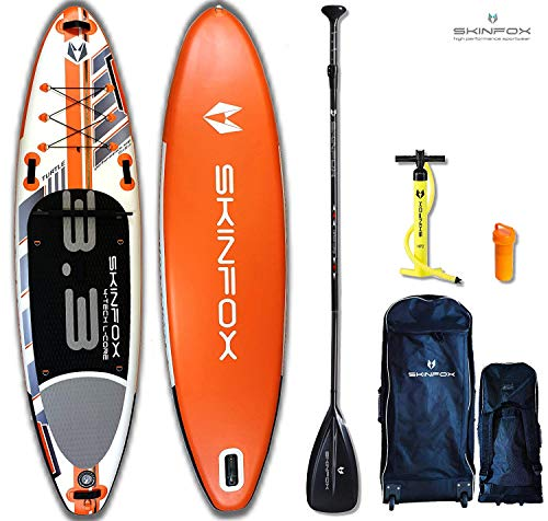 SKINFOX Turtle orange Stand up Paddle Board Set aufblasbar Paddelboard|TESTSIEGER SUP|335x78x15 cm|Tragkraft 175 kg|(Board,Rucksack m. Rollen,Doppelhub-Pumpe,Repair-Set,Carbon-SUP Paddel)