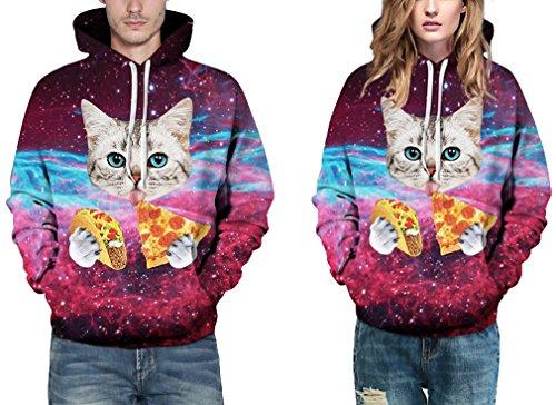 EmilyLe Herren digitaldruck Galaxy Bunt Sweatshirt Langarm Kapuzenjacke mit Tier Muster Frühling Jumper Fashion Pullover Katze und Pizza