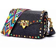 LCDY Bolso De Mujer con Tachuelas Color Bolso Pequeño Cuadrado Bolsa De Cuero con Capa Superior