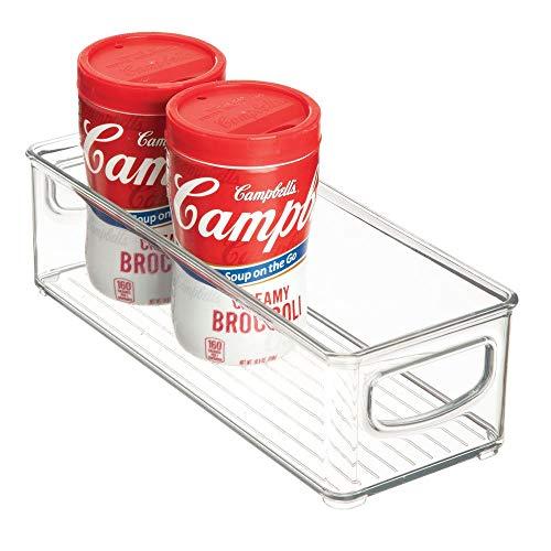 Idesign organizer cucina, porta oggetti cucina di piccole dimensioni, pratica scatola plastica aperta con manici, trasparente