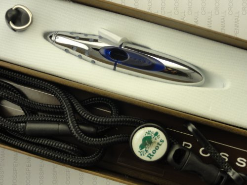 cross-made-in-the-usa-blue-metal-ion-gel-ink-rollerball-pen-with-key-clip-and-lanyard-roots-engraved