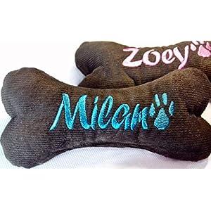 Hundespielzeug Hundeknochen Hunde Geschenk Spielzeug Knochen 26 cm 2 Quietscher mit Namen bestickt