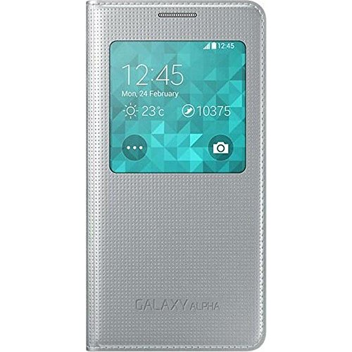 Samsung S-View Case Cover for Samsung Galaxy Alpha - Argent